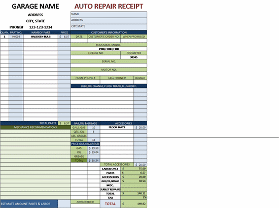 Auto repair invoice for a garage with tax - Free Invoice Template