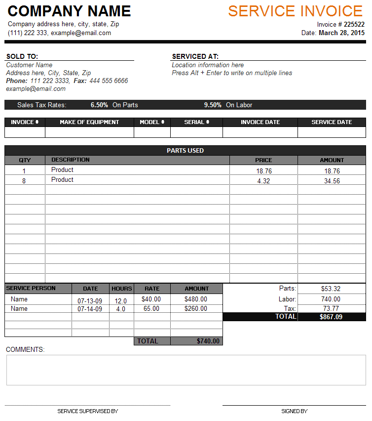 Service Invoice Template With Tax And Parts Details Service - Service invoice template