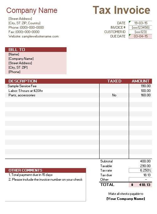 Service Invoice With Tax Calculations  Free Service Invoice