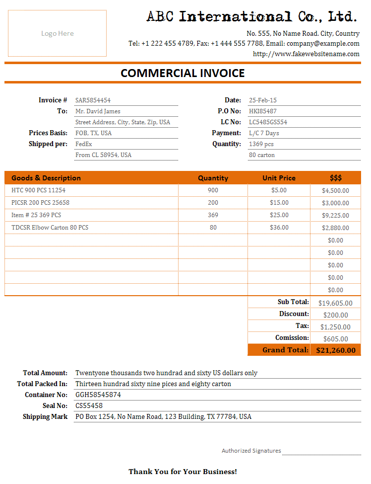 Cargo Freight Bill And Shipment Invoice