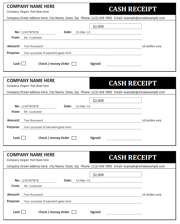 Cash Receipt and Invoice Templates | Sales Invoices | Invoice Templates