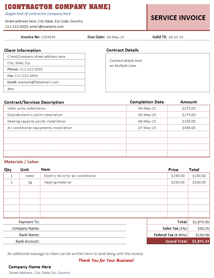 Contractor Invoice Template Service Invoices – Contractor Receipt