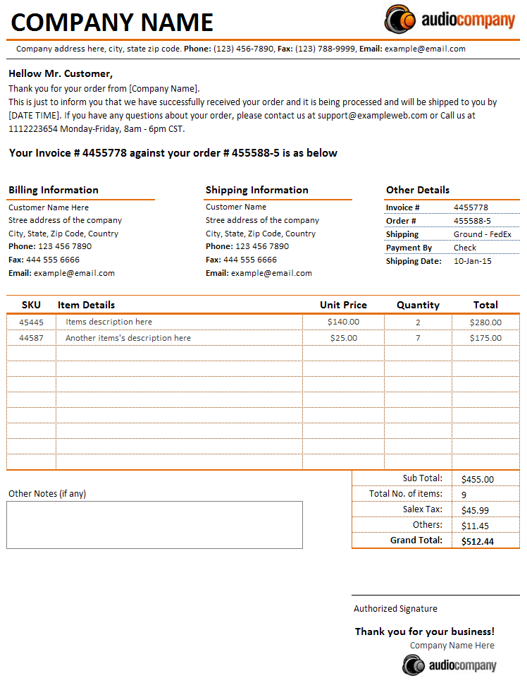 Customer Order Received Letter Invoice Sales Invoices Free - Order invoice
