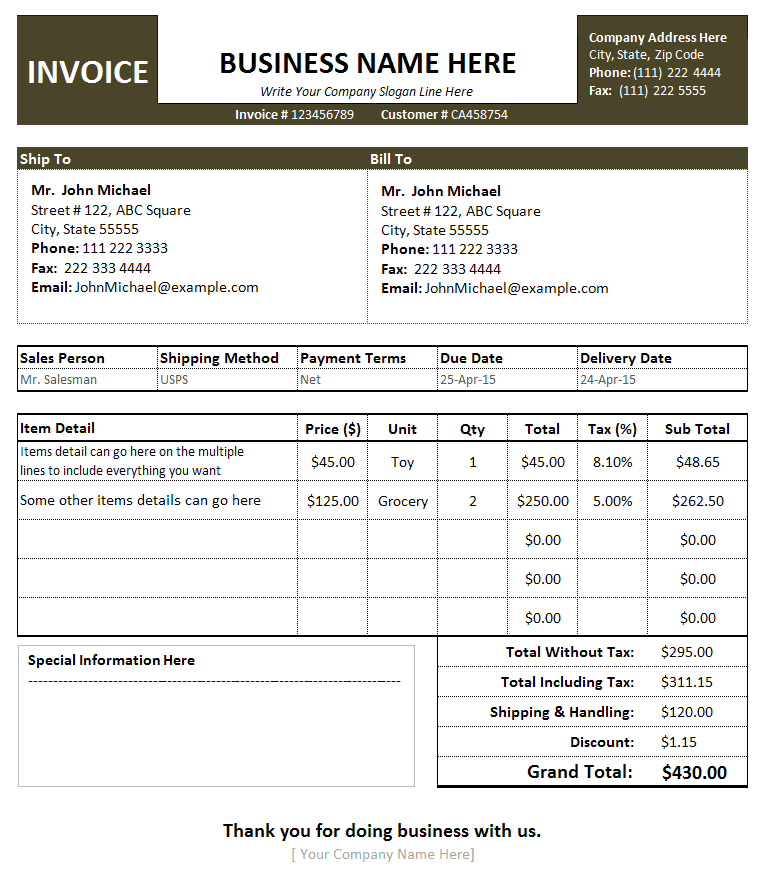 Free Invoice Template Sales Invoice Template For Small Business - Small business invoice templates