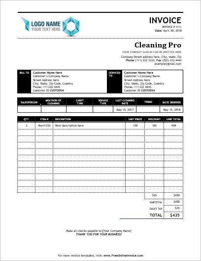 carpet cleaning invoice service invoices invoice templates