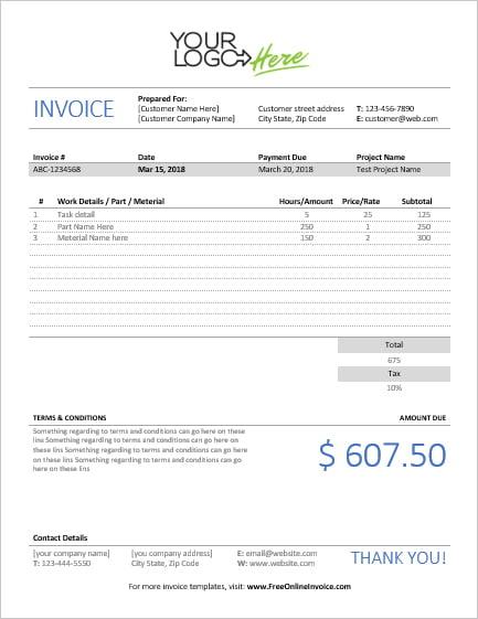 MS Word Handyman Invoice Template Sales Invoices Invoice Templates - Printable handyman invoice